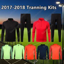 Wholesale Yellow Jacket Outfit - 2017 18 Tranning KITS outfits Tracksuits Jacket Messi INIESTA O.DEMBELE PIQUE SOCCER FOOTBALL calcio fútbol