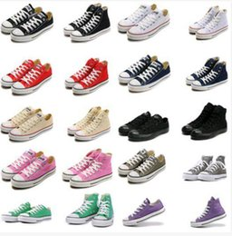 Wholesale Canvas Fabric Colors - DORP SHIP size35-45 Unisex Low-Top & High-Top Adult Women's Men's Canvas Shoes 13 colors sports stars chuck Laced Up Casual Sneaker shoes