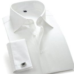 Wholesale French Style Clothes - Wholesale- 100% Cotton French Style Men's Clothing Fashion Brand Shirt Slim Fit Invisible Buttons Dress Shirt Long Sleeve White CXW12001