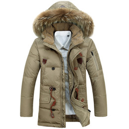 Wholesale Winter Coats Norway - Fall- Winter Fur Hoodie Mens Parkas Fashion Brand Design Duck Norway Cotton Down Jacket Canadian Face Corduroy Coats