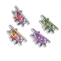 Wholesale Wooden Airplanes - Kimter Multicolor Cartoon Airplane Shape Wooden Decorative Buttons With 2 Holes 1.95x3.2cm For Craft Garment Accessorie Pack Of 30pcs I475L