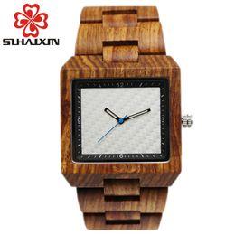 Wholesale Miyota Quartz - SIHAIXIN Top Brand Mens Designer Wood Wooden Watch Zabra Watches For Men Japan miyota 2035 Quartz Watch in Gift Box
