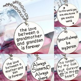 Wholesale Forever Crystals Jewelry - The love between a grandmother and grandson is forever necklace Grandson and mimi and nana Jewelry