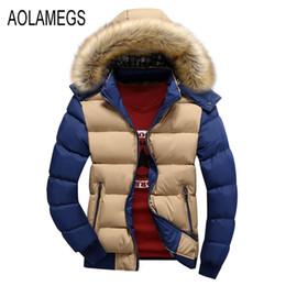 Wholesale thin fur coat - Wholesale- Aolamegs Winter Jacket Men Fashion Contrast Color Fur Hooded Winter Coat 2016 Cotton-padded Outerwear Manteau Homme Hiver M-4XL