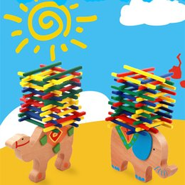 Wholesale Wood For Children - Wholesale Baby Toys Educational Elephant Camel Balancing Blocks Wooden Toys Beech Wood Balance Game Montessori Blocks Gift For Children Kids