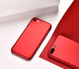 Peinture métallique rouge en Ligne-Rouge Métallique Peinture Ultra-mince Pleine Couverture Souple TPU Cas Pour Iphone 7 6 6s plus 5 5s Antichoc Couverture Shell DHL livraison