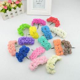 Wholesale Diy Artificial Mini Foam Flower - Wholesale-12pcs mini artificial Foam rose bouquet wedding gift boxes decorated DIY wreath collage craft artificial flowers