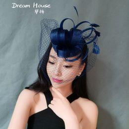 Wholesale Navy Blue Feather Hat - Woman headdress hair The bride wedding dress small hat headdress feathers black Navy Blue gauze dress accessories exaggerated retro veil hai