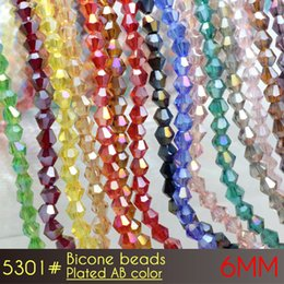 Wholesale Shiny Black Cross - Bicone Beads crystal glass beads curtains small size 6mm AB Colors A5301 50pcs set shiny ab colors