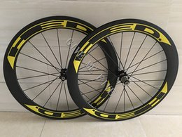 Wholesale Carbon Rear Wheel Clincher - Yellow HED Carbon Wheels Clincher 60mm 700C Disc Brake Road Bike Carbon Wheelset 23 25mm Width Wheelset Cheap Carbon Bike