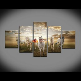 Wholesale High Quality Horse Oil Painting - Unframed 5 pcs High Quality Cheap Art Pictures Running Horse Large HD Modern Home Wall Decor Abstract Canvas Print Oil Painting