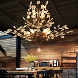 Wholesale Gold Crystal Pendant Ceiling Light - New Modern Pendant Lights Crystal Chandeliers Branches Pendant Lamp Ceiling Light Chandelier Lighting Fixture for Living Room bedroom