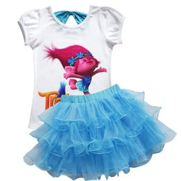 Wholesale Short Blue Skirt Cartoon - Troll Kids Clothing Sets Girls Cartoon Short Sleeve Top Shirts+tutu Skirt 2Pcs Set Girls Summer Outfits Suits Kids Sets