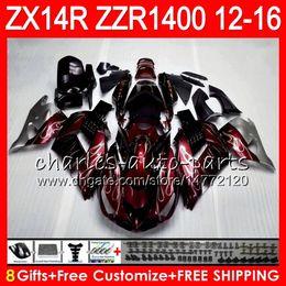 Carrocería para KAWASAKI NINJA ZZR1400 14 R ZX14R 12 13 14 15 16 64HM4 rojo vino ZZR 1400 ZX-14R ZX 14R 2012 2013 2014 2015 2016 Kit de carenado desde fabricantes