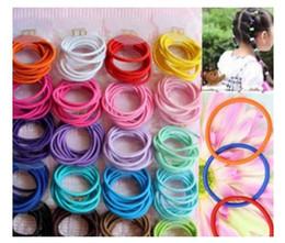 Wholesale Orange Ponytails - 100pcs Mixed Colors Baby Girl Kids Tiny Hair Bands Elastic Ties Ponytail Holder