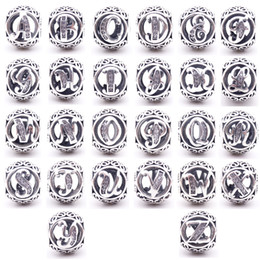 Wholesale Cross Charms Holes - Authentic 925 Sterling Silver 26 Letters beads crystal Big Hole Loose alphabet beads charms for bracelets jewelry making craft Supplies