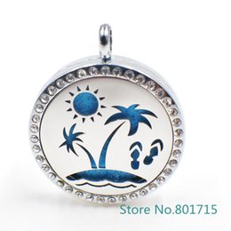 """Wholesale Tin Perfume - XX035 """"Sunshine beach"""" Magnet Aromatherapy Essential Oil Stainless Steel Perfume Diffuser Locket Necklace with chain&pads"""