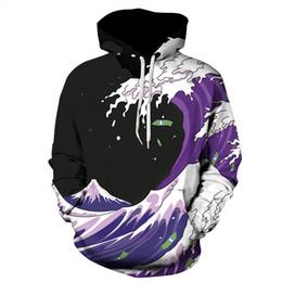 Wholesale Men S Pullover Hoodie Pattern - Long Sleeve Sea Wave Pattern Balck Background 3D Painted Hoodie