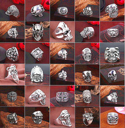 Wholesale Gothic Ring Vintage - Top Gothic Punk Assorted Skull Sports Bikers Women's Men's Vintage Antique Silver Skeleton Jewelry Ring 50pcs Lots Wholesale