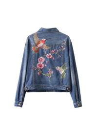 Wholesale Women S Single Breasted Coat - Women fashion vintage floral bird animal single-breasted embroidered denim jacket loose long sleeve drop shoulder coat S-L
