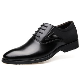 Wholesale Us11 Platforms - Large Code 47 48 Brand Mens Dress Shoes Genuine Leather Pointed Toe Office Formal Shoes Men Wedding Flats Casual Oxfords Italian