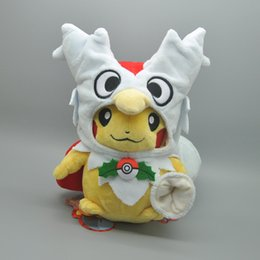 """Wholesale Pikachu Party - Hot New 8"""" 20CM Pikachu Delibird Poncho Poke Doll Anime Collectible Pocket Monsters Plush Dolls Stuffed Party Gifts Soft Toys"""