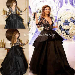 Wholesale Myriam Fares Hot - Free Shipping Hot sale Cheap Arabic myriam fares dress real picture long sleeve Ball gown Black V-neck Evening Dresses