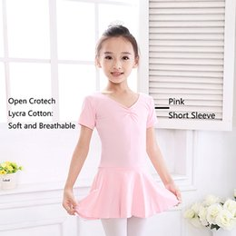 Wholesale Tutu Ballet Leotard Dresses - 2017 New Hot Girls Kids Ballet Dance Dress Lycra Cotton Open Crotch Vestido Classical Tutu Ballet Leotards For Children DQ8025