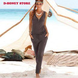 Wholesale Women S Fashion Bodysuits Wholesale - Womens Jumpsuits 2017 New Fashion Sexy beach Sleeveless Deep V Neck Nightclub Bodysuits Casual zipper dresses for women