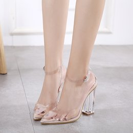 Wholesale Transparent Strapped Bikini - Bikini pageant ankle strap clear transparent princess crystal shoes chunky high heels pointed toe pumps size 34 to 40