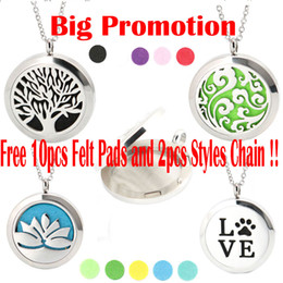 Wholesale Pad Pendant - With 2pcs chains and 10pcs Flet Pads Aromatherapy Essential Oils Stainless Steel necklace Pendant Perfume Diffuser Oil Locket