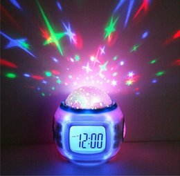 Wholesale Led Projector Clock Night Lamp - Sky Star Night Lighting Lamp Projector Rotation Light Alarm Clock With LED Backlight Music Player Thermometer Calendar