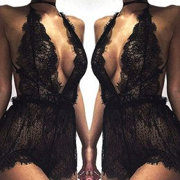 Wholesale Sexy Night Women - Wholesale- 2017 Women Ladies Mesh Lace Sleepwear Sexy V Neck Erotic Babydoll Lingerie Strappy Bra Halter Night Dress Bodysuit robe de nuit