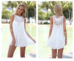 Wholesale Vintage Lace Crochet Sleeveless - Women Girl's Casual Vintage A-Line Short Dress Shirt Tops Chiffon Lace Crochet Sleeveless Including Asia S-XL Size Free Shipping