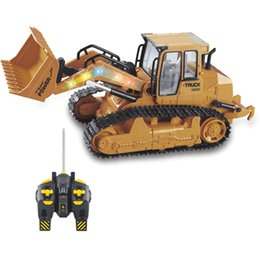 Wholesale large truck toy - Large RC Truck Bulldozer 6CH Caterpillar Track Remote Control Simulation Pushdozer Engineering Forlift truck Model toys