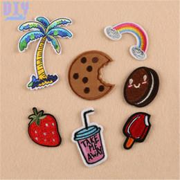 50 pcs Coconut Palm Bebida Ferro Em Remendos Biscoitos Bordados Adesivos Applique Crachá Chapéu Saco de Roupas Sapatos de Tecido de Costura Artesanato DIY de