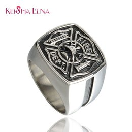 Wholesale Firefighter Gifts - Keisha Lena Mens firefighter Ring Stainless Steel Firemen Ring Top Quality red line rings