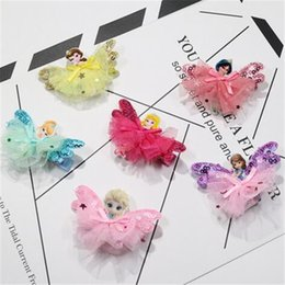 Wholesale Wholesale Fairy Wings For Girls - 7 Styles Cartoon Fairy Princess Lace Sequins Hairpins Frozen Cinderalla SnowWhite Butterfly Wings Hair Clips Cute Hair Accessory for Girls