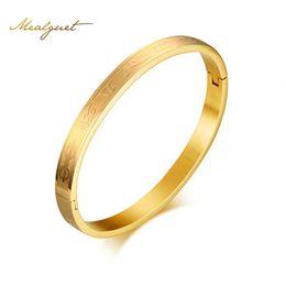 Wholesale Mani Padme - Meaeguet Mantra Round Bracelet Bangles For Women Gold-color Om mani padme hum Pulseira Feminina Bracelet Femme B-155