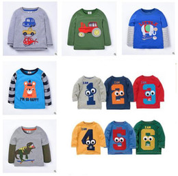 Wholesale Girls Fall Shirts - Clothing Boys and Girls Kids Long Sleeve T Shirt FAll Winter Cotton Animal Casual Tops Elephant Monkey Dinosaur Kids Clothes Outerwear
