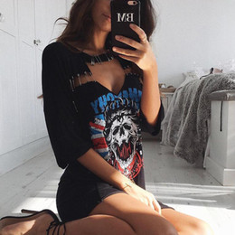 Wholesale Patterned Rolling Pins - Rock And Roll Pattern Print T-Shirts A Line Dress Summer Sexy Hollow Out Pin Short Sleeve Shirt Dresses Vintage Mini Women Dress