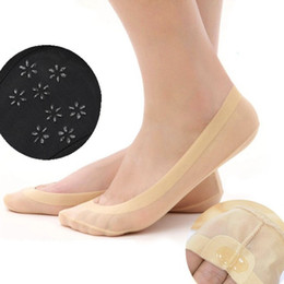 Wholesale Solid Silicone Girl - Wholesale- New Summer Style Seamless Ice Silk Short Socks For Women Girls non-trace Stealth Anti-Slip Silicone Invisible Boat Socks