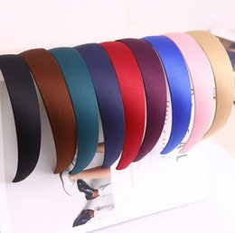 Wholesale Headbands Hoops - High quality Temperament retro simple wide-brimmed hoop practical solid color cloth headband TG045 mix order 30 pieces a lot