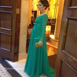 Wholesale Dresses For Pregnant Women Winter - 2017 New Elegant Long Sleeve Evening Dress Lace Appliques For Pregnant Women Formal Holiday Wear Prom Party Gown Custom Made Plus Size