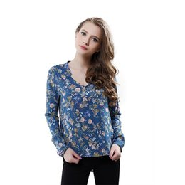 Wholesale Ol Style Long Sleeve Chiffon - Softu New Women Vintage Floral Prints Long Sleeve V Neck Shirt Blusas Femininas OL Style Cotton Blouses Plus Size