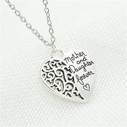Wholesale Cheap Silver Heart Necklace - pendants necklace Mother And Daughter Forever jewellery Necklace Women Ladies Cheap Jewelry Heart Charm Pendant Necklaces wholesale hot