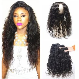 Wholesale Ocean Wave Hair - 360 Frontal With Bundles Malaysian Water Wave Virgin Hair With Closure Wet and Wavy Weave With 360 Lace Frontal Ocean Wave Human Hair