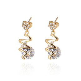 Wholesale Women S Earrings Gold Plated - New Fashion Korean Trendy 18K Yellow Gold Plated Clear Crystal Personality S Shape Earrings Studs for Girls Women