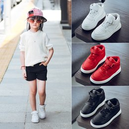 Wholesale Boys Casual Boots - 2017 Spring Casual Children Shoes Sneakers Leather High Help Waterproof Black red Kids Boots Boys Girls Shoes