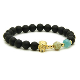 skull bracelet clasps Coupons - New Wholesale 10pcs lot 8mm Matte Fire Agate Stone Beads With Four Colors Heart Skull Macrame Friendship Lovers Bracelets